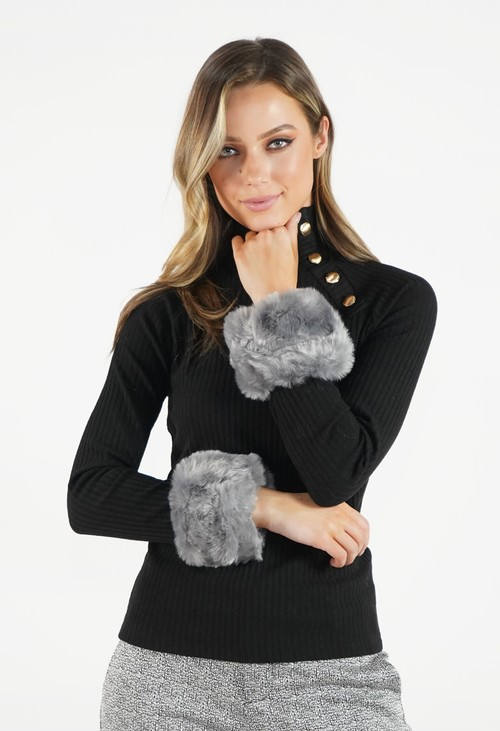 Pamela Scott Light Grey Faux Fur Cuff