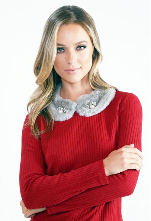 Pamela Scott Grey Faux Fur Collar with Bee Detail