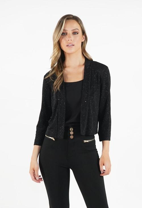 Ronni Nicole Black Glitter Cropped Jacket