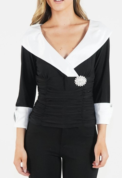 Ronni Nicole Black and Cream Wide V Neck Top with Embellishment