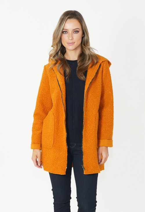 Twist Mustard Cozy Hooded Jacket