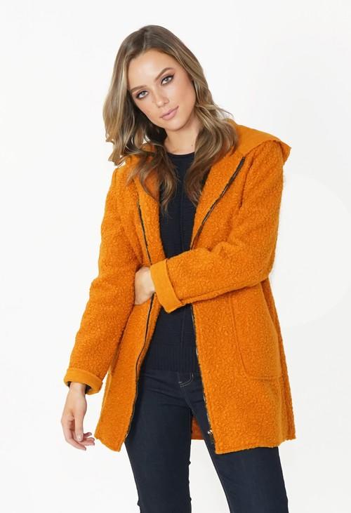 Twist Mustard Cozy Hooded Jacket