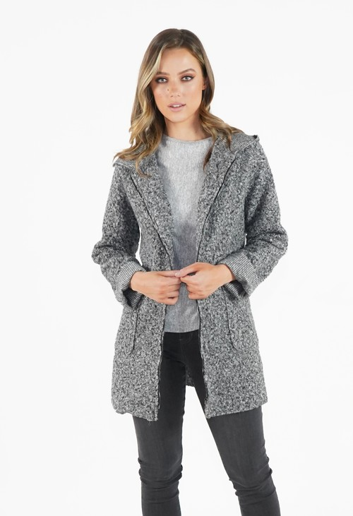 Twist Grey Cozy Hooded Jacket