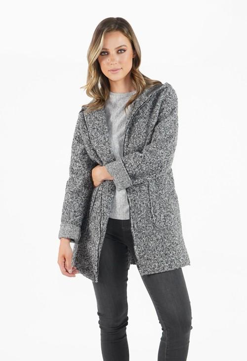 Twist Grey Cozy Hooded Jacket