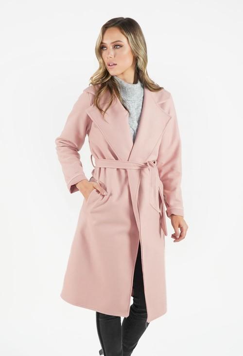 Zapara Soft Pink Longline Coat