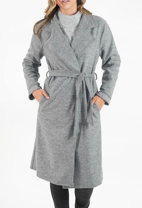 Zapara Grey Longline Coat