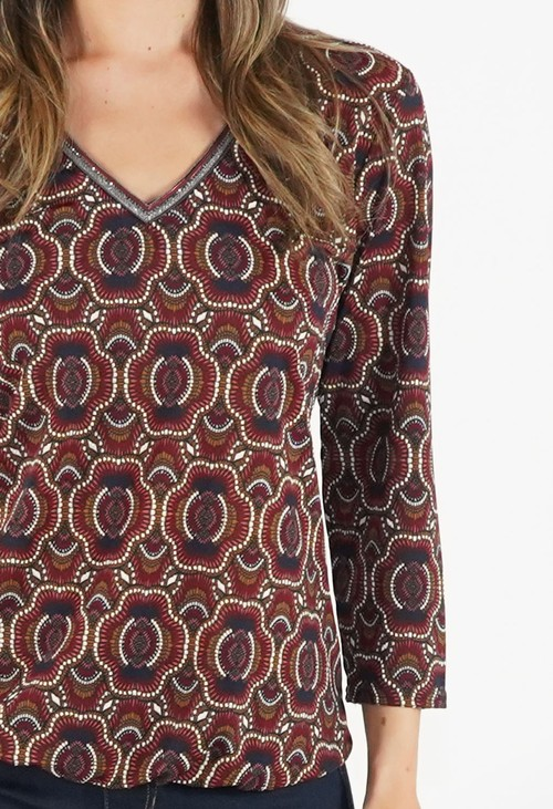 Sophie B Rust and Navy Print V Neck Top