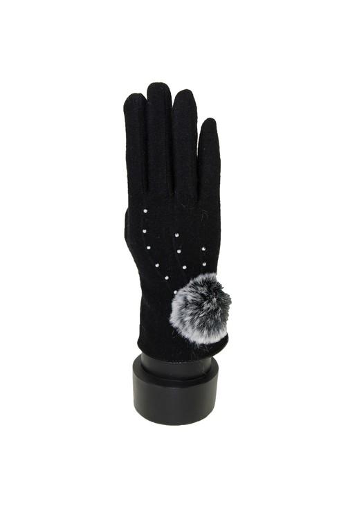 Something Special Black Pom Pom Gloves