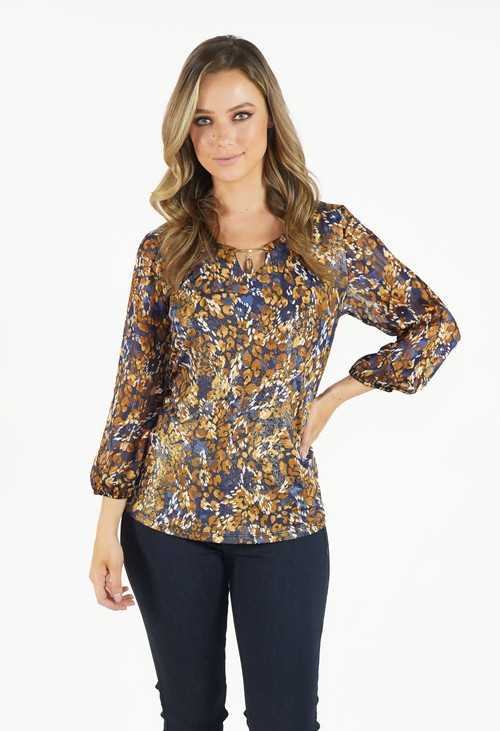 Zapara Blue and Mustard V Neck Top with Gold Detailing