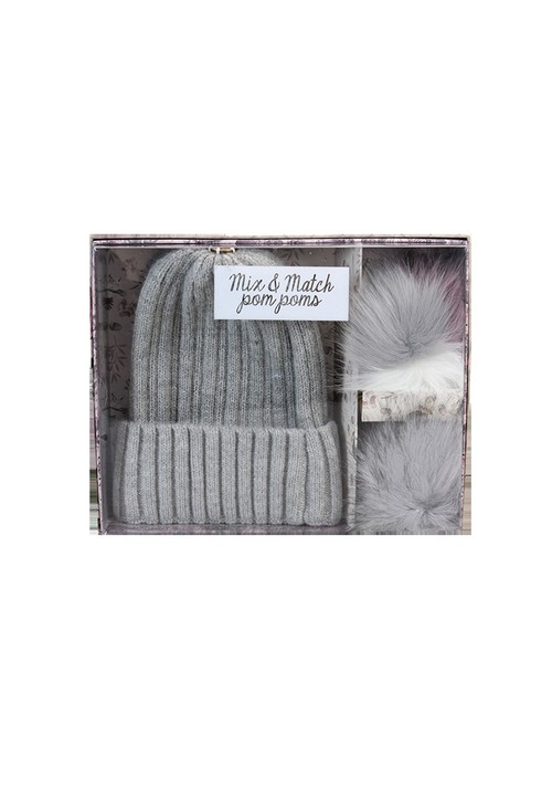 Something Special Grey Mix and Match Pom Pom Hat