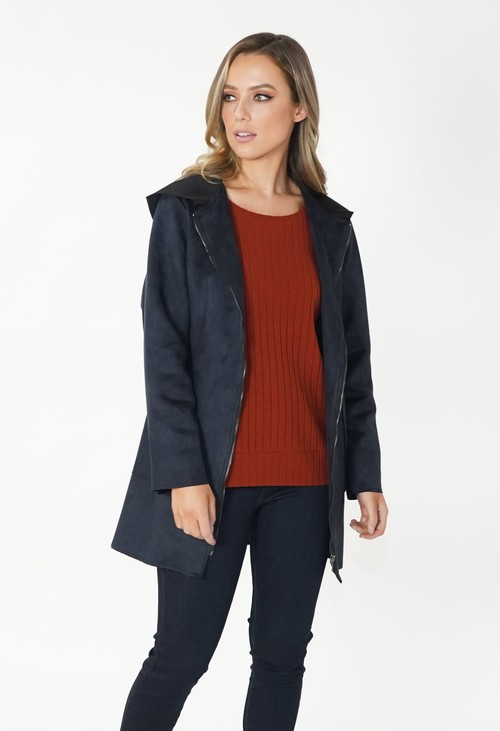 Zapara Navy Faux Suede Hooded Jacket