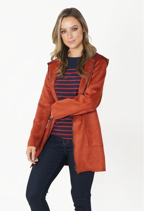 Zapara Rust Faux Suede Hooded Jacket