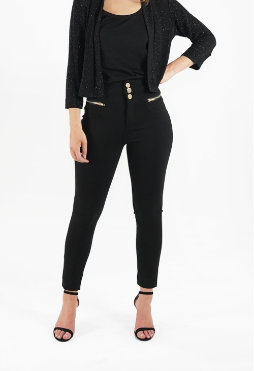 Zapara Black High Waist Skinny Trouser