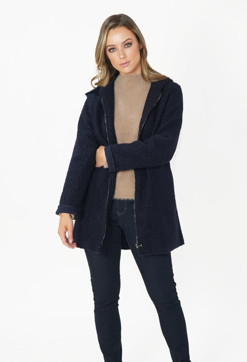 Twist Navy Cozy Hooded Jacket