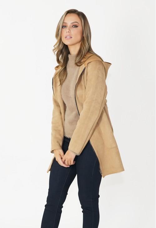 Zapara Camel Faux Suede Hooded Jacket