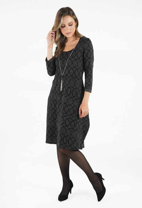 Sophie B Dark Grey Pattern Dress with Necklace Detail
