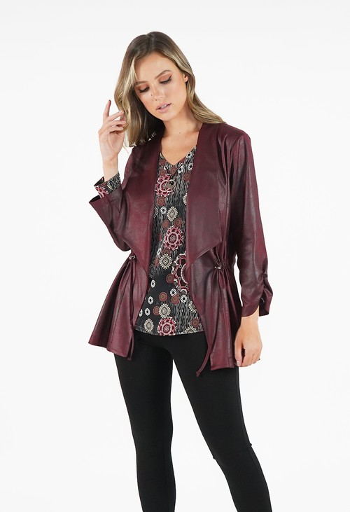 Sophie B Dark Cherry Open Jacket with Tie Waist