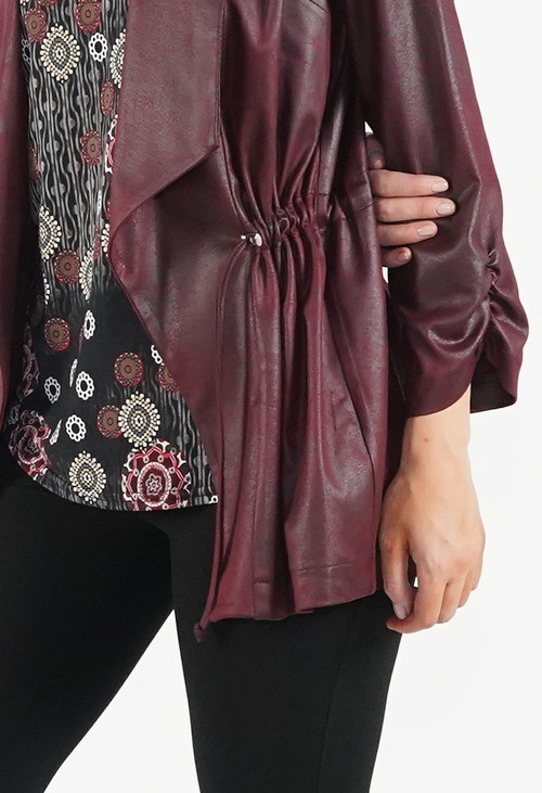 Sophie B Dark Cherry Open Jacket with Tie Waist