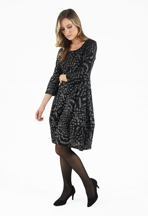Sophie B Black Round Neck Dress with Silver Detailing