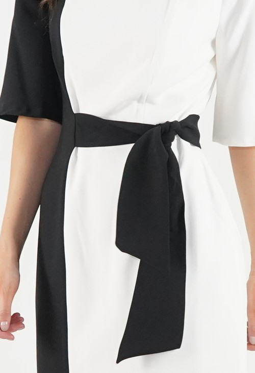 London Times Black and White Two Tone Dress with Tie Waist