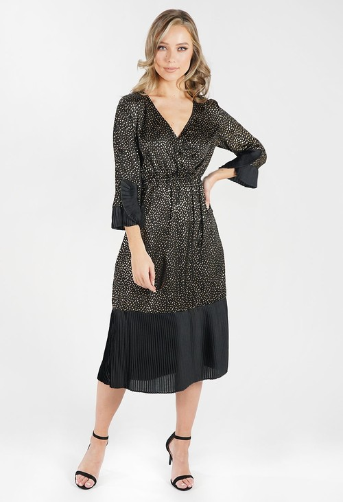Zapara Black and Metallic Gold Crossover Dress with Pleated Detailing