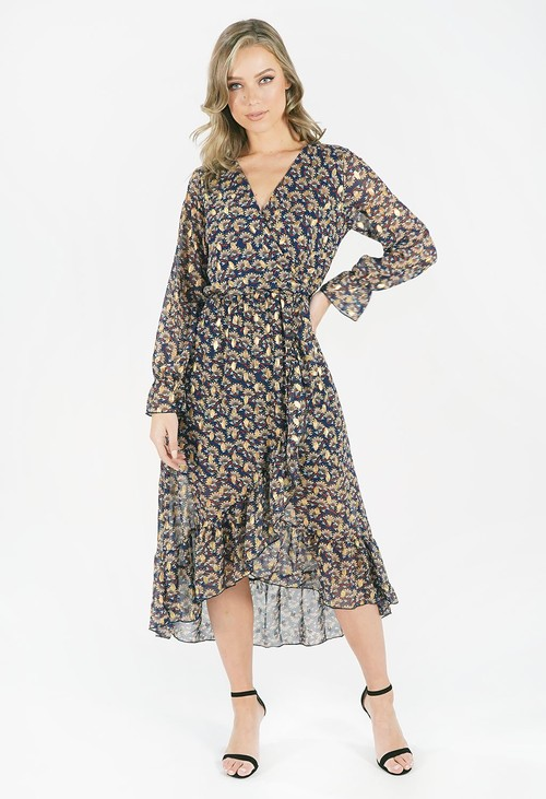 Pamela Scott Navy Printed Dress with Gold Detail