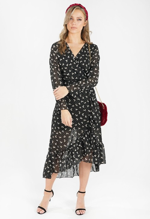 Pamela Scott Black Leaf Print Dress with Gold Dot Detail