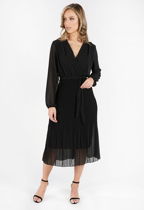Pamela Scott Black Crossover Pleated Dress