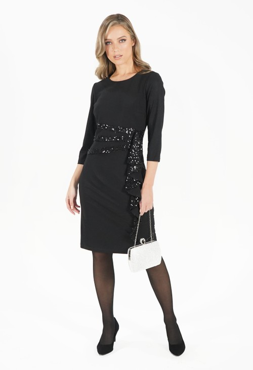 R and M Richard Black Sequin Trim Dress