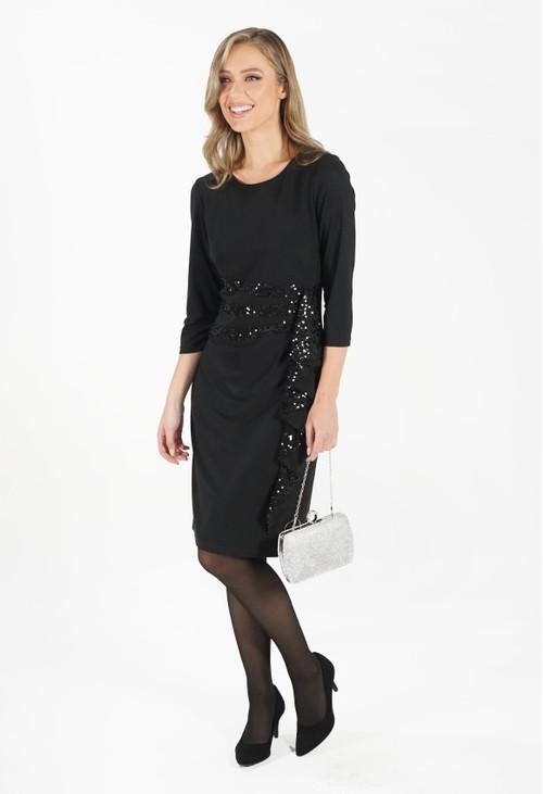 R and M Richard Black Sequin Trim Dress
