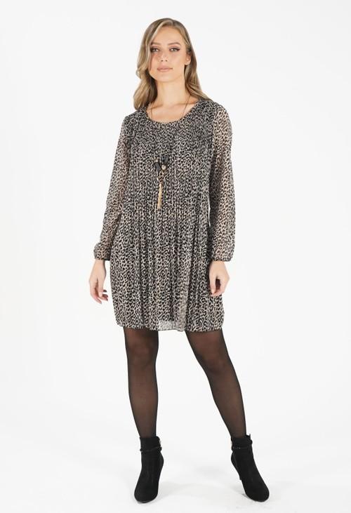 Pamela Scott Beige Leopard Print Pleated Dress