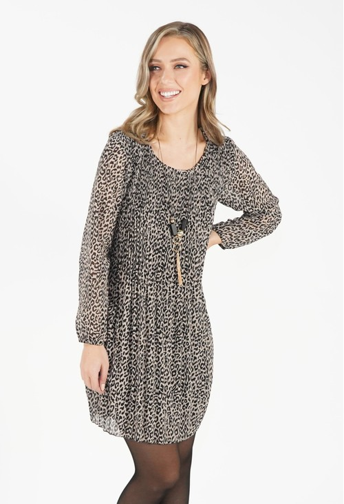 Pamela Scott Beige Leopard Print Pleated Dress
