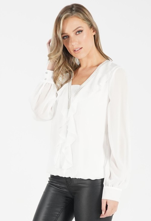 Just White Frill Detail Blouse