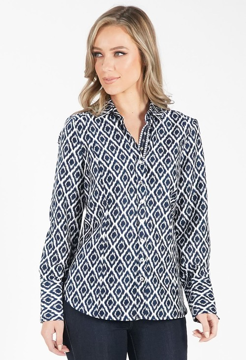 Just White Blue Diamond Print Blouse