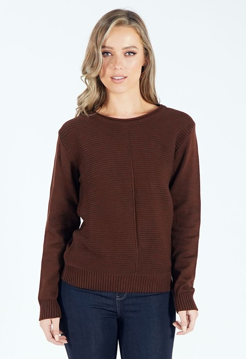 Twist Chocolate Round Neck Knit Jumper