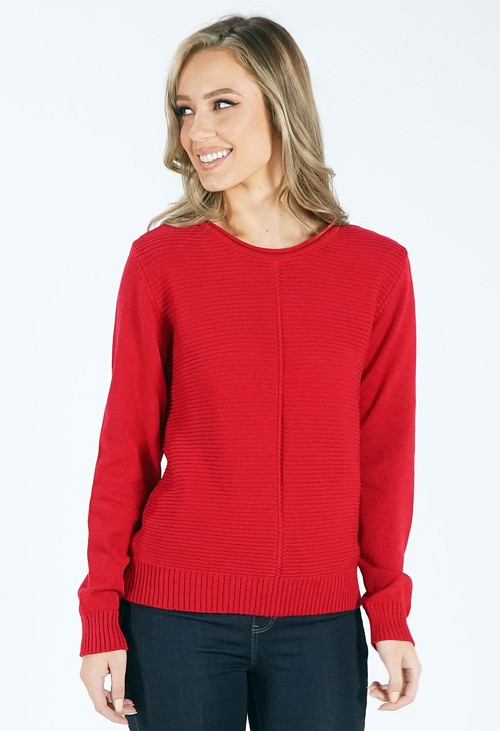 Pamela Scott Dark Red Round Neck Knit Jumper