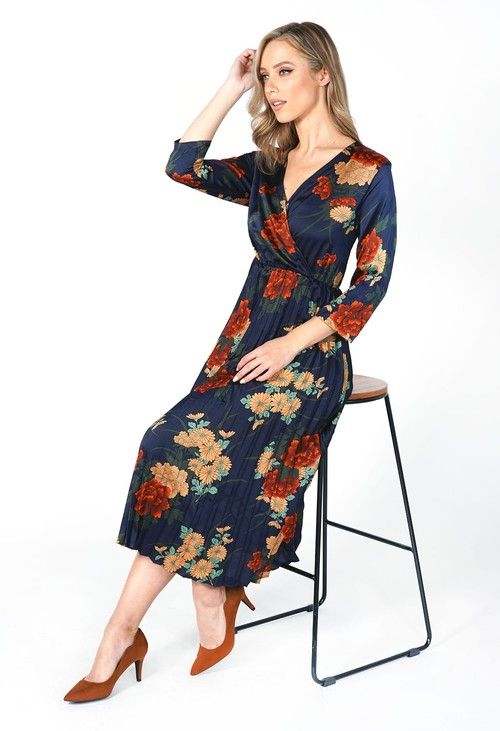 Zapara Navy Floral Crossover Pleated Dress