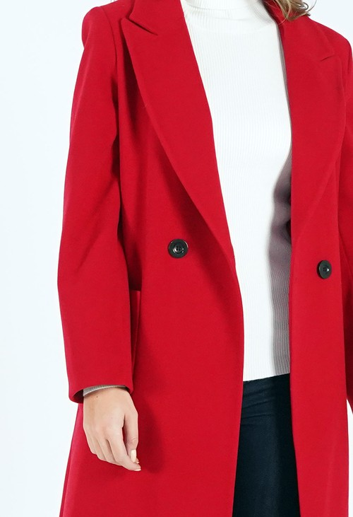 Zapara Red Wool Mix Longline Coat