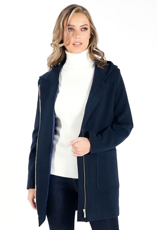 Sophie B Navy Hooded Wool Mix Coat