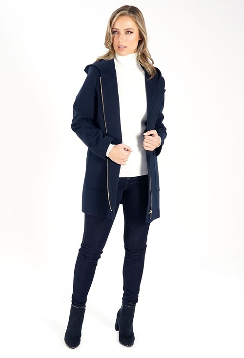 Sophie B Navy Hooded Wool Mix Coat