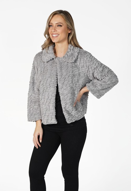Pamela Scott Grey Soft Faux Fur Jacket