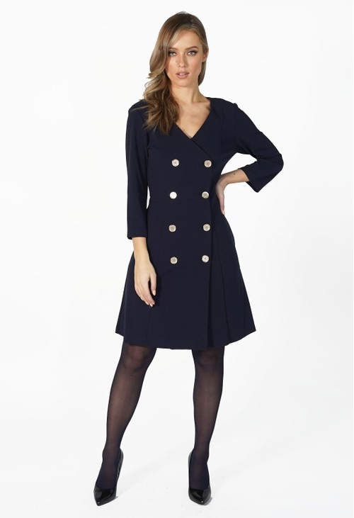 Pamela Scott Navy Gold Button Blazer Style Dress