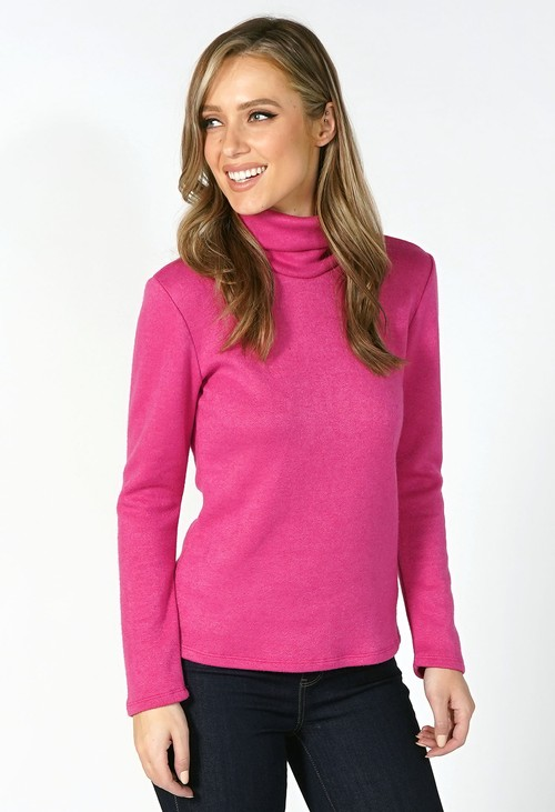 Sophie B Fuschia Roll Neck Knit