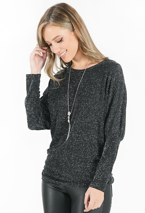 Pamela Scott Silver and Black Metallic Top with Necklace