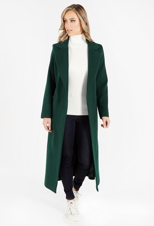 Zapara Green Wool Mix Longline Coat with Tie Waist
