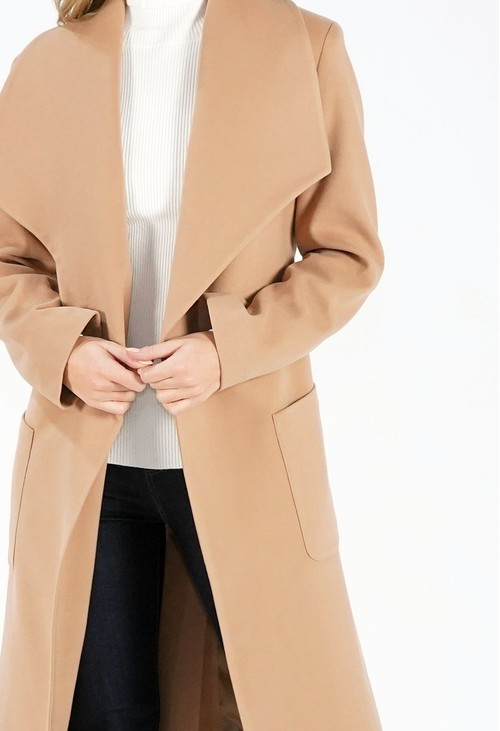 Sophie B Camel Waterfall Front Longline Coat with Tie Waist