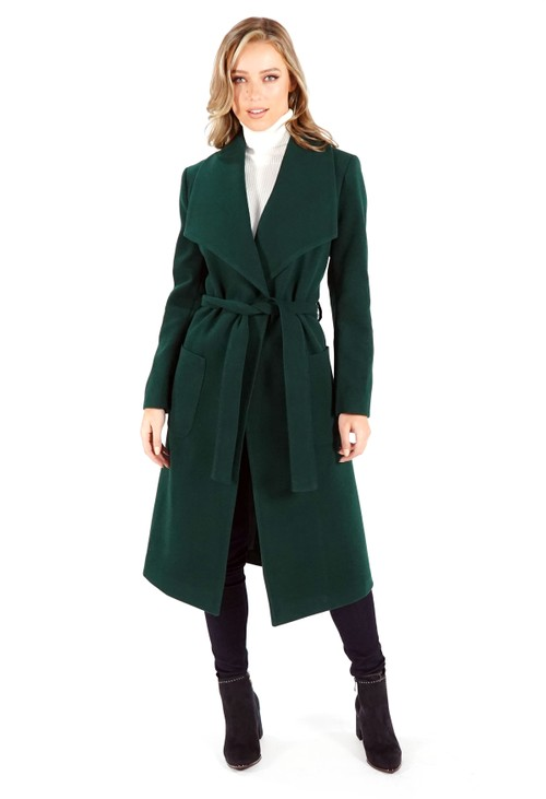 Sophie B Green Waterfall Front Longline Coat with Tie Waist