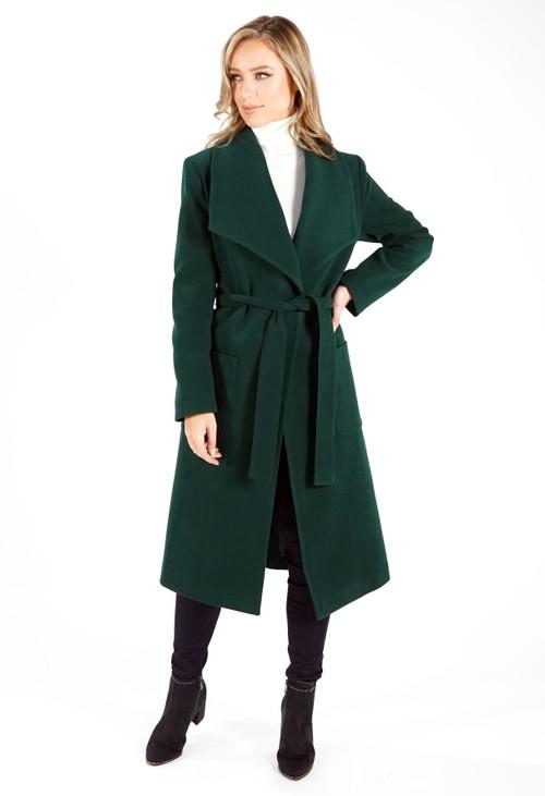 Sophie B Green Waterfall Front Longline Coat with Tie Waist