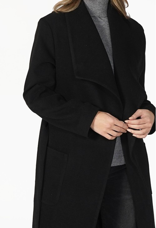 Sophie B Black Waterfall Front Longline Coat with Tie Waist