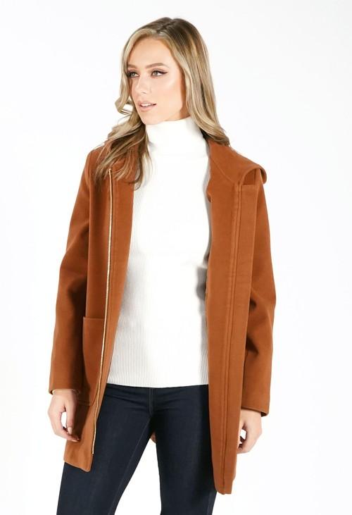 Sophie B Brown Hooded Wool Mix Coat